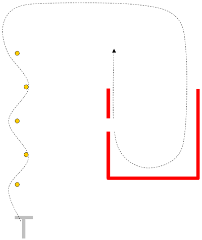 Graphical representation of a cone weave and U-turn for the motorcyclist operator skills test.