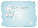 Blue bunny birth certificate