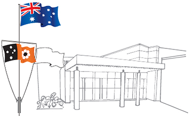 Image showing the Australian flag located above the NTG flag in front of a building