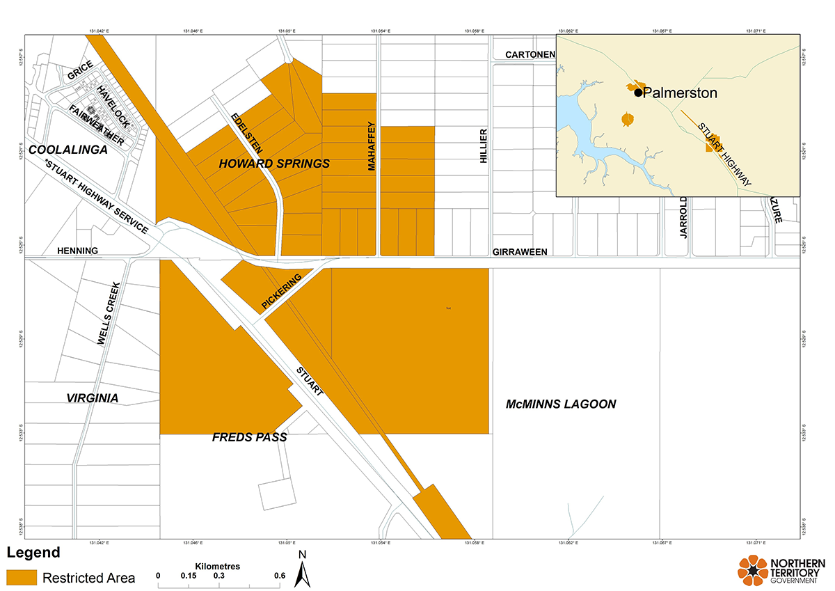 Howard Springs restricted area map
