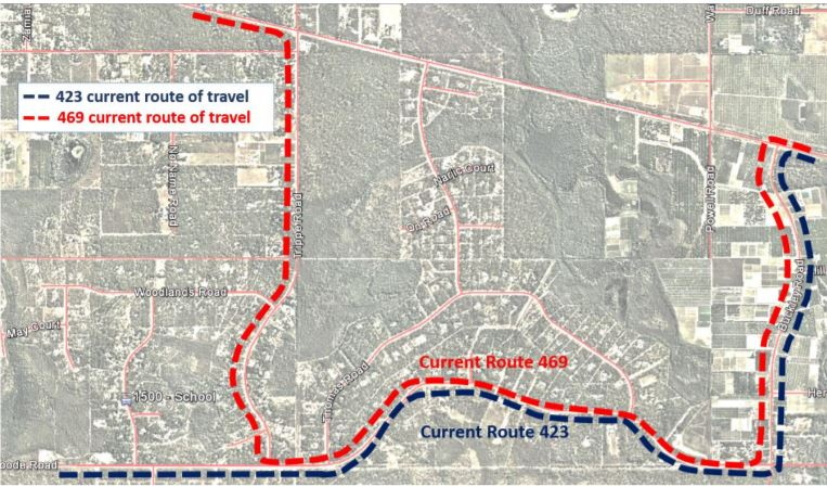 Map showing changes to route 423 and 469