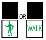 Illustration showing a green man and a walk sign indicating that pedestrians may start to cross
