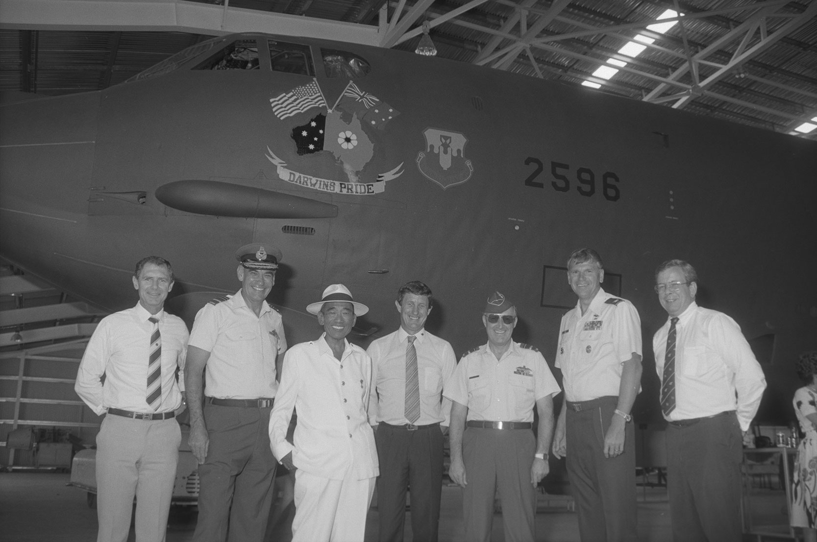 Opening of the Darwin Aviation Museum, 2 June 1990<br />Image courtesy of Library & Archives NT,  Department of the Chief Minister, NTRS 3823 P1, Box 11, BW2909, Image 27