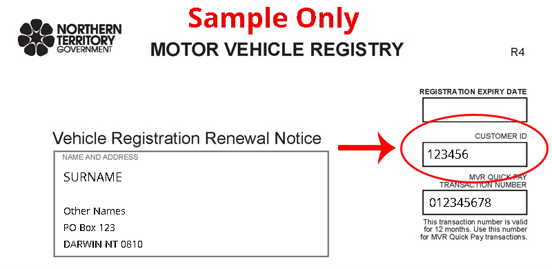 Sample of Vehicle Registration Renewal Notice showing MVR Quick Pay transaction number