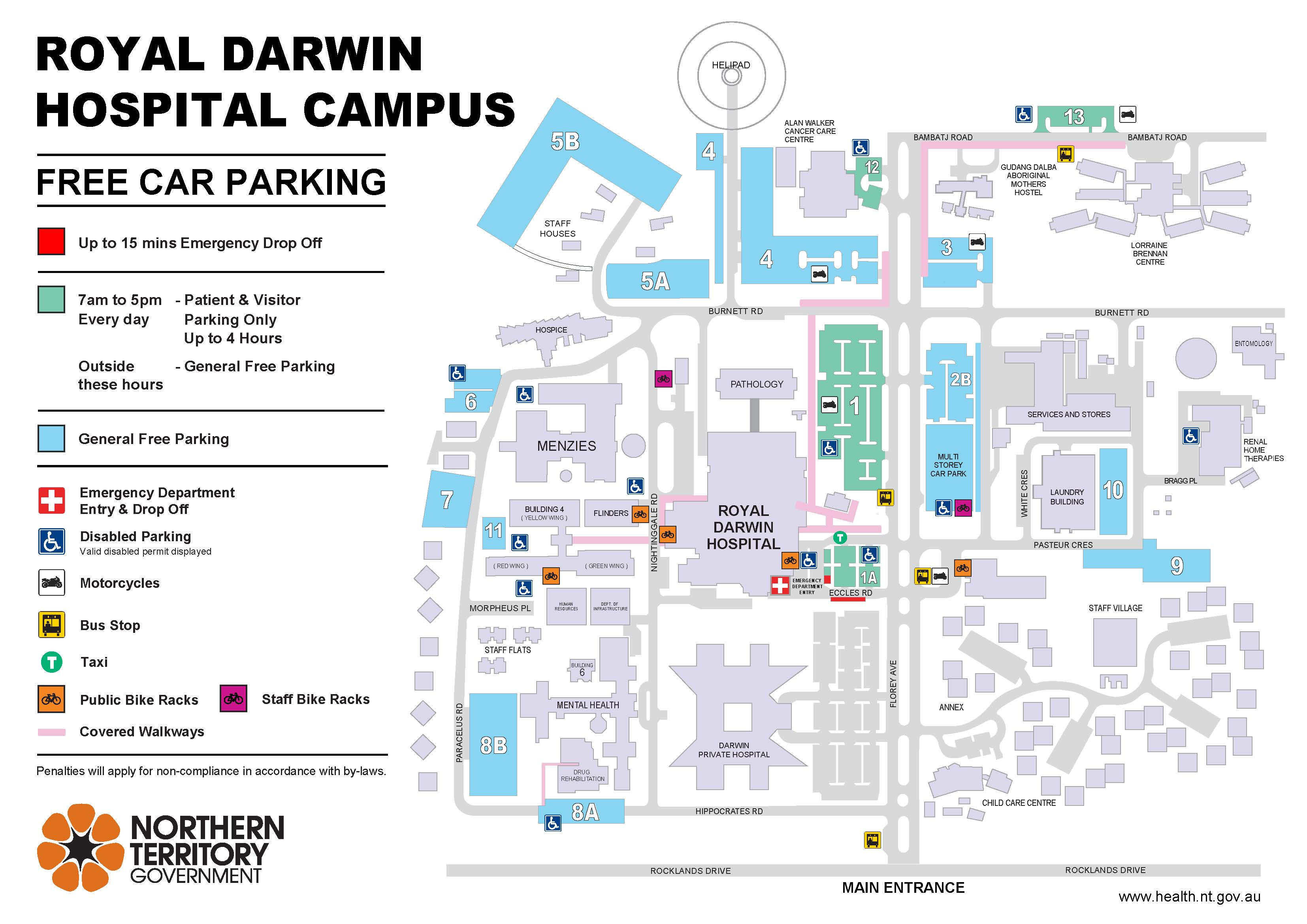 A map showing the parking at Royal Darwin Hospital