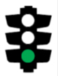 Illustration of a traffic light with the bottom light coloured green
