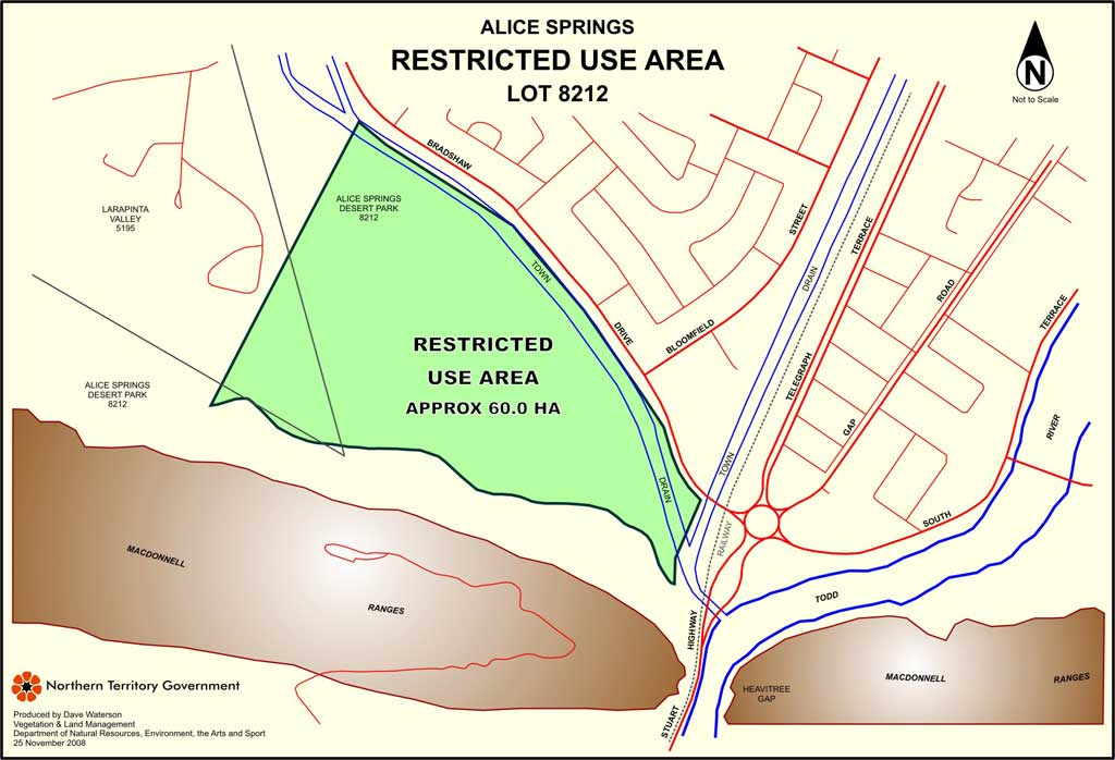 Alice Springs restricted use area map