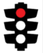 Photo of a traffic light with the top light coloured red