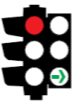 Illustration of a traffic light with the top light coloured red and the bottom turning light coloured green