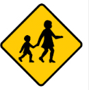 Yellow diamond with walking children sign