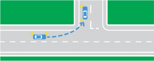 Illustration of edge lines on the sides of a T intersection