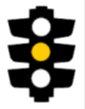 Illustration of a traffic light with the middle light coloured yellow (amber)