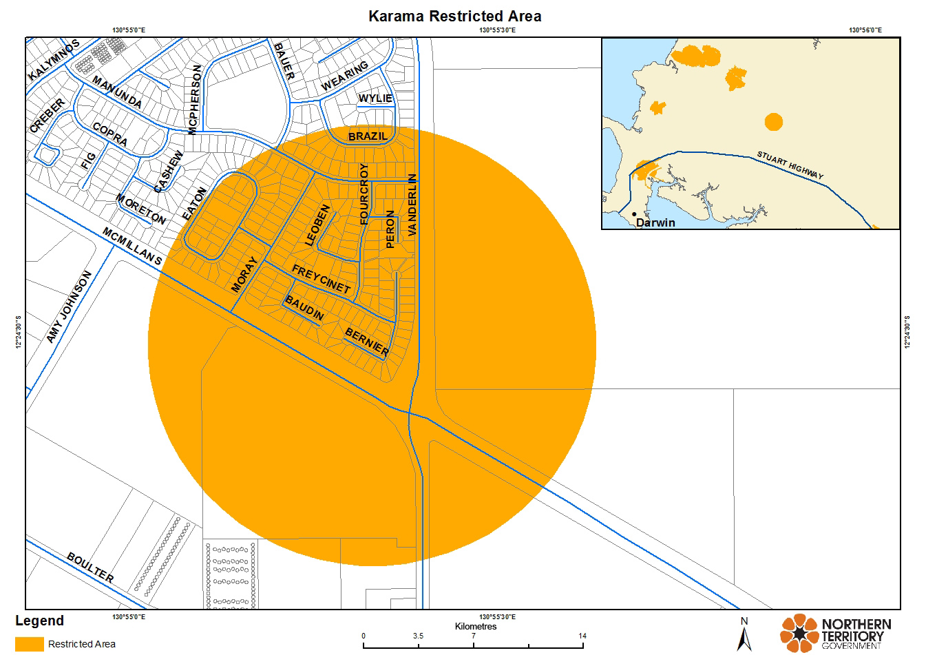 A map showing the area of Karama with citrus plant restrictions